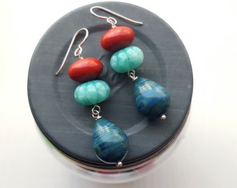 floating worlds earrings - teal, aqua, red - color theory - colorful jewelry - sterling silver hooks