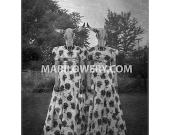 Halloween Wall Art, 8x10 Inch Print, Cow Skull Art, Black and White, Creepy Twin Sisters, Gothic Decor, frighten