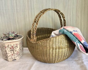 Vintage Woven Brass Basket. Planter Pot with Hinged Handles. Woven. Heavy, Unusual, Sturdy.