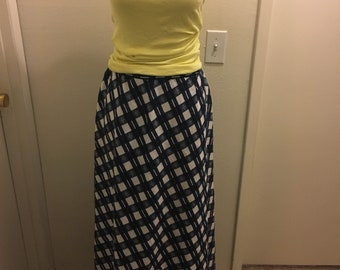Beverly Paige 1960s Gingham Checked Picnic Style Maxi Skirt