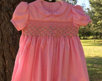 Smocked Girl's Dress 12 month