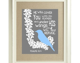 PSALMS 91:14 Digital Print / 8x10 Grey and White / Blue Bird / Religious Poster Print