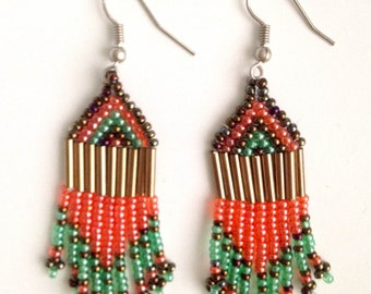 MADE IN AFRICA beaded bohemian earrings//  salmon & green