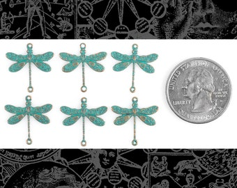 Aqua Copper Smaller Ornate Dragonfly Two Ring Connectors Set of Six * V-2C12