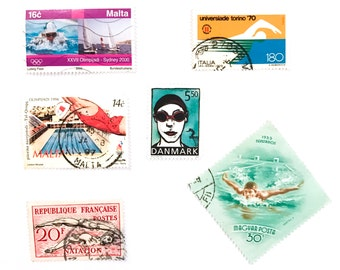 6 x Swimming Swimmer postage stamps - from 5 countries, used, off paper, all different - Pool Goggles - for collecting, crafts, scrapbooking