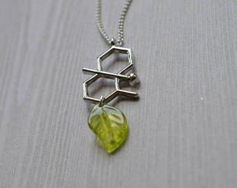 Biolojewelry - After The Rain Geosmin Molecule Leaf Necklace