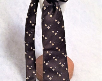 1970s Vintage Brown Polyester Necktie with Harvest Gold Print from Todd's Indiana