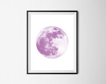 Full Moon Print, Purple Print, INSTANT DOWNLOAD, Moon Printable Art, Minimalist Decor, Purple Nursery Decor, Moon Art, Purple Moon