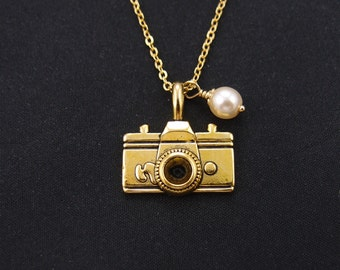 camera necklace, gold filled, Swarovski pearl choice, gold camera charm on gold chain, photographer gift, photography necklace, friendship