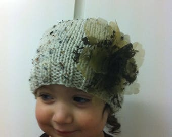 Toddler girl knit hat and brooch Flower accessories size 12 months to 2 years old / shabby chic girl hat