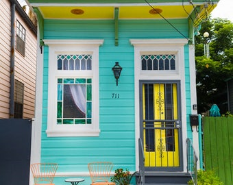 New Orleans Turquoise Yellow and Orange Shotgun Home Greeting Cards