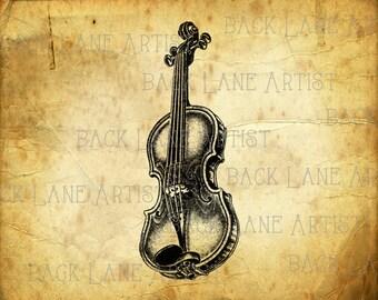 Vintage Violon Music Instrument Clipart Lineart Illustration Instant Download PNG JPG Digi Line Art Image Drawing L054