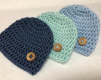 PREEMIE Baby Hats Set of 3/Preemie Set of Three Hats/ Preemie Winter Hats/NICU Baby Hat/ Crocheted Preemie Hats