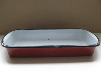 Vintage oblong rectangular red enamel scale.