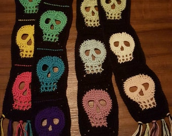Handmade Crochet Colorful Skull Scarf