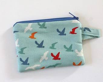 Bird zipper pouch, pocket wallet, Change purse, cash wallet, earbud pouch, mom purse, business card holder, keychain wallet, id holder Mini