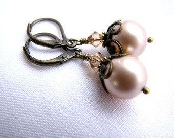 SALE, SWAROVSKI® Pearl and Crystal Earrings, CHOOSE Your Color: Almond, Peach, Or Antique Gold, Antiqued Brass Leverbacks, All Ready to Ship