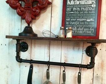 Industrial Kitchen Shelf, Rustic Kitchen Shelves, Industrial Shelves, Wall  Hanging, Industrial Decor
