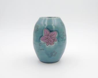 Clay Vase // Utensil holder, ceramic flower vase, handmade pottery, wheelthrown pottery, turquoise, orchid, flower, purple flower, mishima