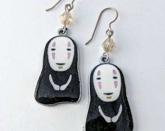 No Face Sparkly Studio Ghibli Metal Charm Crystal Earrings, GeekStar Anime Jewelry