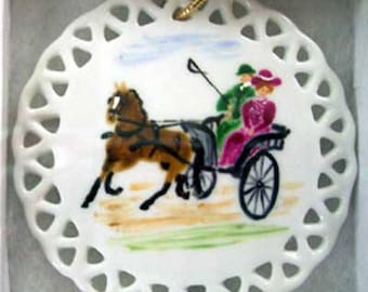 Country Drive Hand Painted China Ornament