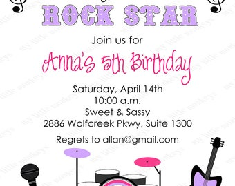 10 Rockstar Birthday Invitations with Envelopes.  Free Return Address Labels