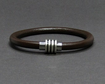 NEW DESIGN Bracelet For Men, Mens Bracelet Antique Silver Stainless Steel Leather Bracelet, For Boyfriend, Customised On Your Wrist