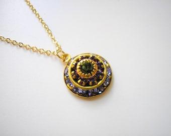 SALE - Vintage Swarovski Amethyst Tanzanite Olivine Crystal Cluster Necklace Rare Italian Renaissance Victorian February birthstone Purple
