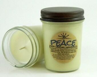 PEACE -  Patchouli Essential Oil Aromatherapy Candle 8 oz Jar