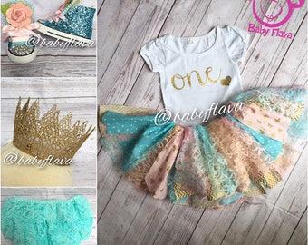 Fabric strip skirt and shirt set