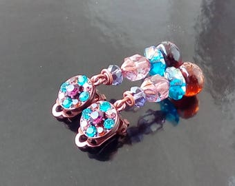 Colorful earrings with Rhinestone clips and demi - amber Moon
