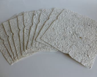 Handmade paper envelopes C6 with coconut fibres