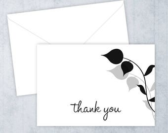 Black and Gray Leaves • Thank You Cards • Printed Thank You Notes • Thank You • Bridal Shower • Leaves Thank You Cards