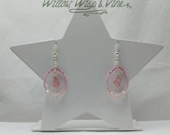 Czech Glass and Swarovski Earrings - Picasso Pink 2