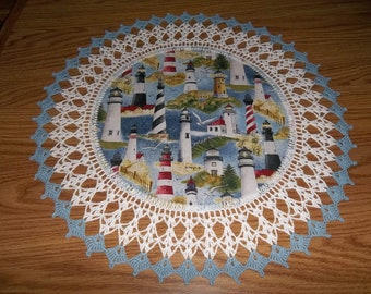 Crocheted Lighthouse Doily 18 inches Fabric Center Crocheted Edge Lace Doily Table Topper Centerpiece Nautical Doily Handmade Gift