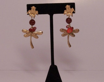 Golden Dragonfly Earrings with red crystals