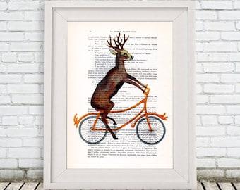 Deer on bicycle print, deer art, deer wall art, deer head print, deer antler, moose print, art deer print, deer head, sportif deer