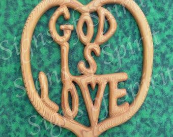 God is Love-Wood Carved Sign by Signs of Spirit