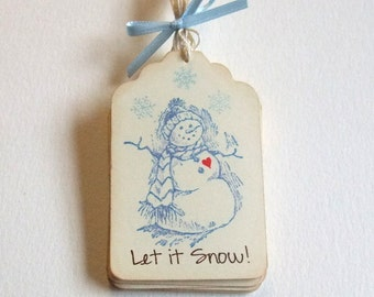 Snowman Love Tags, Snowman Only, Let It Snow, Thank You, Just for You, Merry Christmas, Happy Holidays, Whimsical, Gift Tag, Label, Set of 6