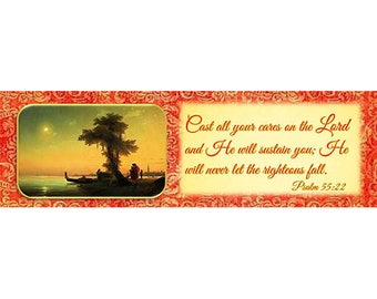 """Night Prayer- """"My Best Friend"""" Laminated Bookmark/ Venice with Gold Plated Cross Charm"""