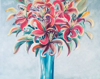 Lilies, Original Oil Painting in Blue and Pink Colors, 30x24""