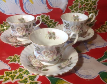 Vintage set of 3 white rose bone china teacups and saucers- Royal Albert, England
