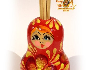 """""""Matryoshka"""" Russian doll, red painted wooden toothpick holder. (Ref:10.3 - 5)."""