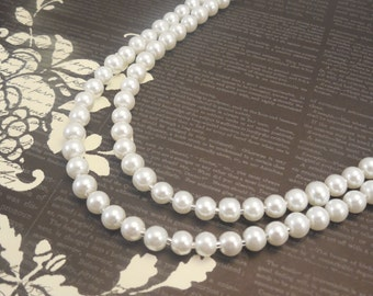 Two Strand, Classic Style 6mm White Glass Pearl Necklace with Silver Plated Flower Clasp