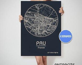 PAU France CANVAS Map Pau France Poster City Map Pau France Art Print Pau France
