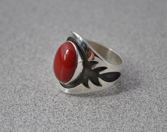 red coral & sterling silver overlay ring