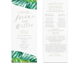 Botancial Wedding Program, Marble, Vintage, Watercolor, Organic, Flower, Modern, Peony, Magnolia, Tropical, Boho, Rustic, Banana Leaf, Beach