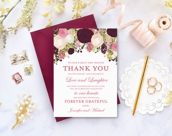 Thank You Note Template DIY Wedding Thank You Wedding Thank You Card Printable Thank You INSTANT DOWNLOAD Microsoft Word #CL113