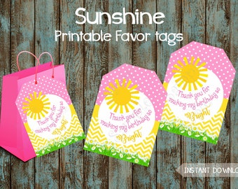 Printable Sunshine Favor Tags, Shunshine Gift Tags, You Are My Sunshine Party Tags, Sunshine Tags, Sunshine Thank you tags