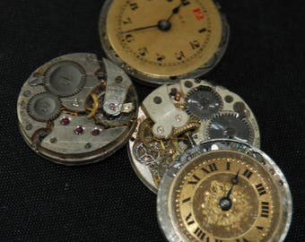 Gorgeous Vintage Antique Watch Pocket Watch Movements with dials faces Steampunk Altered Art Assemblage Industrial RB 49